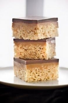Chocolate caramel pb rice krispie treats